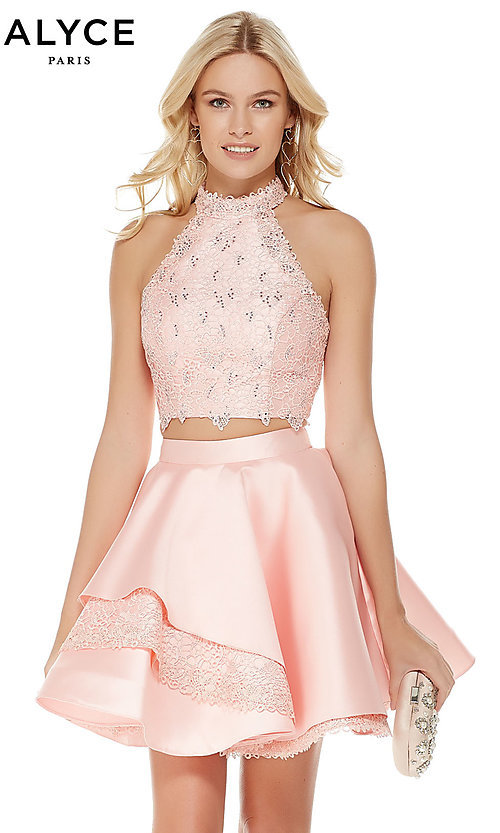 1515eb51821 Short High-Neck Homecoming Dress with an Open Back