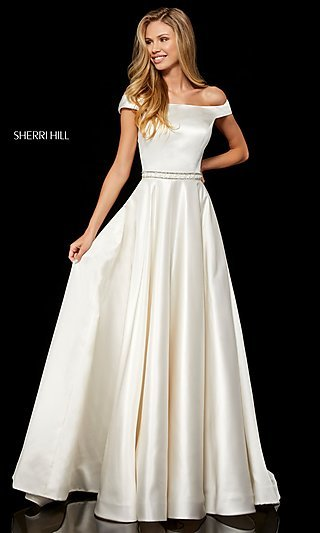 Long Sherri Hill A-Line Formal Dress with Beading