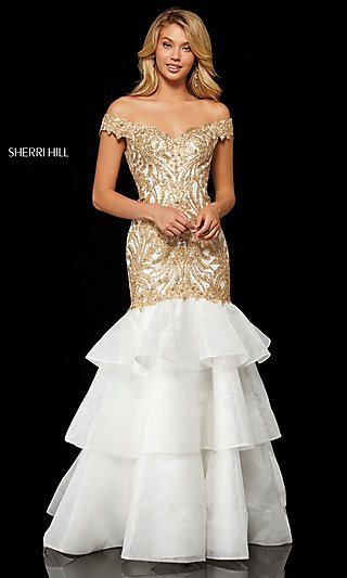 Sherri Hill Off-the-Shoulder Formal Dress