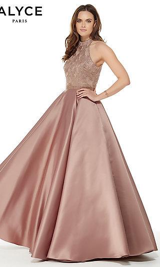 Alyce High-Neck Formal Dress with a Beaded Waist