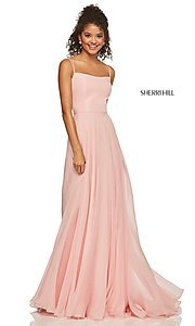 Image of straight-neck formal dress with lace-up back Style: SH-52839 Detail Image 1
