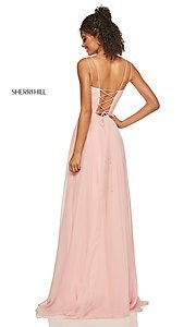 Image of straight-neck formal dress with lace-up back Style: SH-52839 Back Image