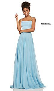 Image of straight-neck formal dress with lace-up back Style: SH-52839 Detail Image 3