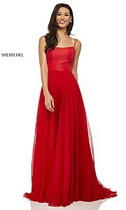 Image of straight-neck formal dress with lace-up back Style: SH-52839 Front Image