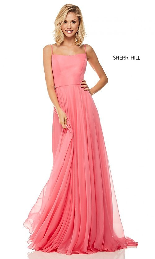 Image of straight-neck formal dress with lace-up back Style: SH-52839 Detail Image 2