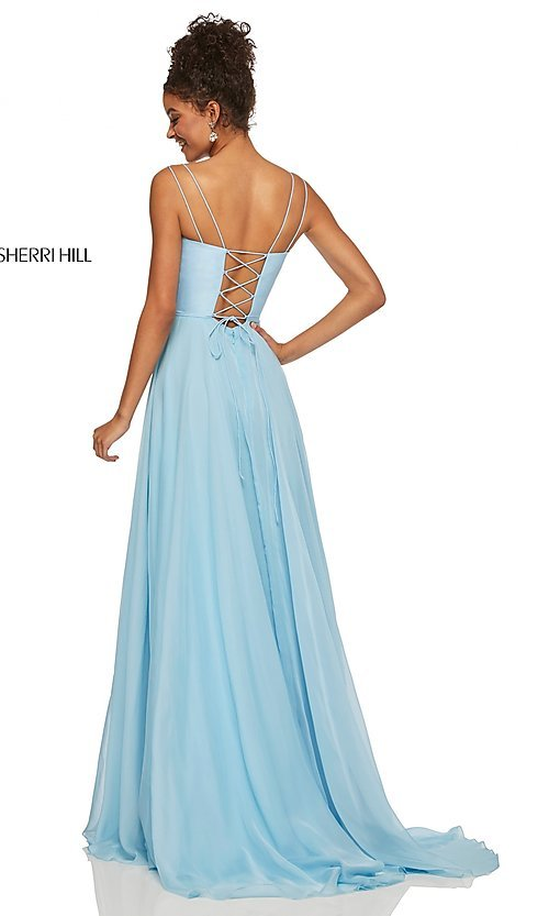 Image of straight-neck formal dress with lace-up back Style: SH-52839 Detail Image 4