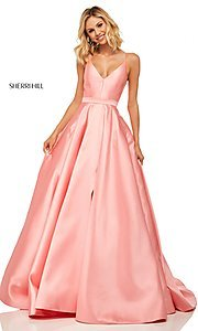 Image of long a-line Sherri Hill evening gown with pockets. Style: SH-52821 Detail Image 3