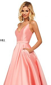 Image of long a-line Sherri Hill evening gown with pockets. Style: SH-52821 Detail Image 5