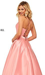 Image of long a-line Sherri Hill evening gown with pockets. Style: SH-52821 Detail Image 6