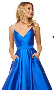 Image of long a-line Sherri Hill evening gown with pockets. Style: SH-52821 Detail Image 1
