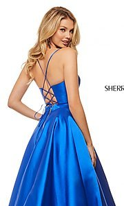 Image of long a-line Sherri Hill evening gown with pockets. Style: SH-52821 Detail Image 2