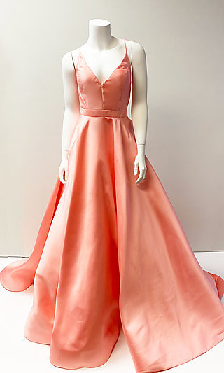 Formal Lace-Up-Back Satin Ball Gown for Prom
