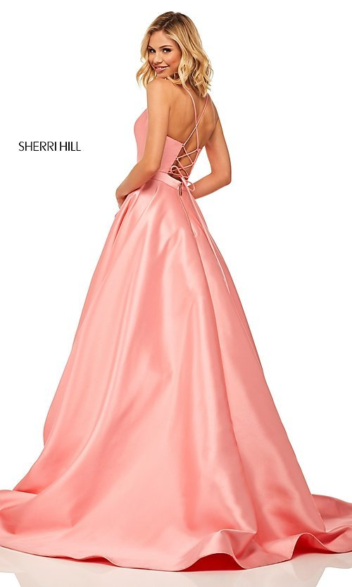 Image of long a-line Sherri Hill evening gown with pockets. Style: SH-52821 Detail Image 4