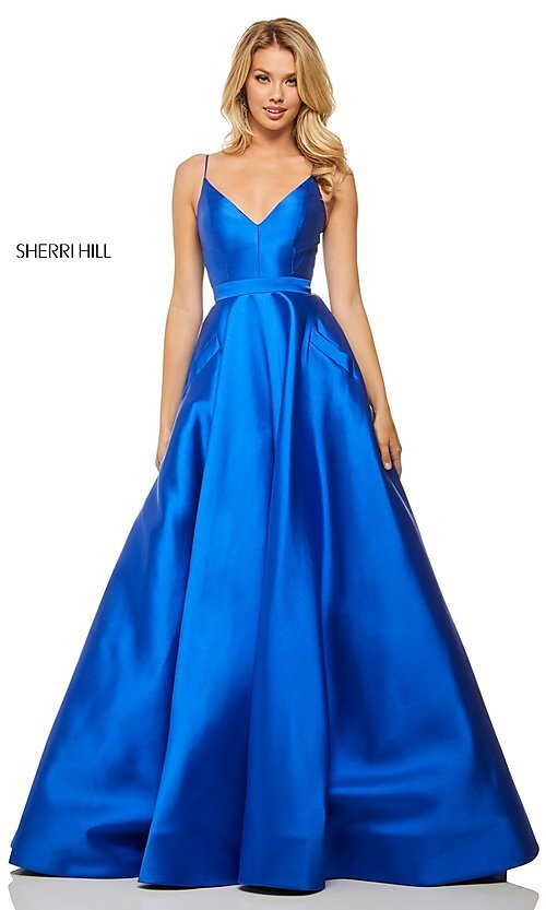 Image of long a-line Sherri Hill evening gown with pockets. Style: SH-52821 Front Image