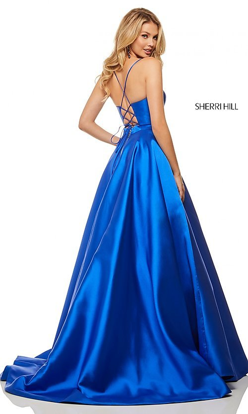 Image of long a-line Sherri Hill evening gown with pockets. Style: SH-52821 Back Image