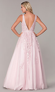 Image of ball-gown-style long mauve pink formal prom dress. Style: FB-GL2529 Back Image