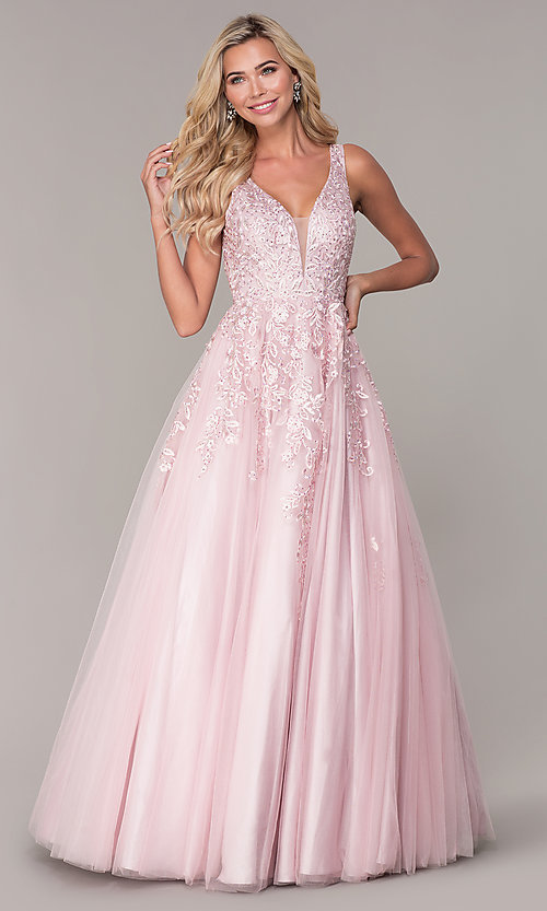 Image of ball-gown-style long mauve pink formal prom dress. Style: FB-GL2529 Front Image