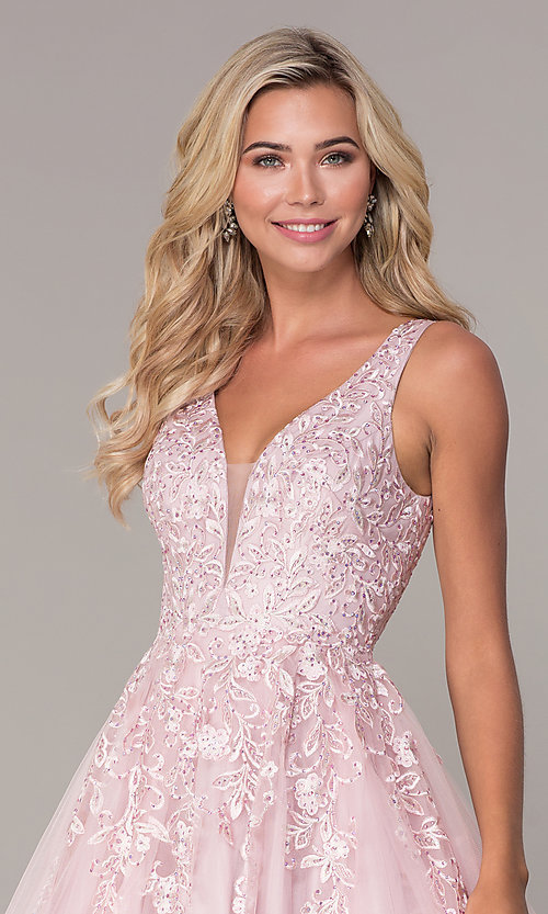 Image of ball-gown-style long mauve pink formal prom dress. Style: FB-GL2529 Detail Image 1