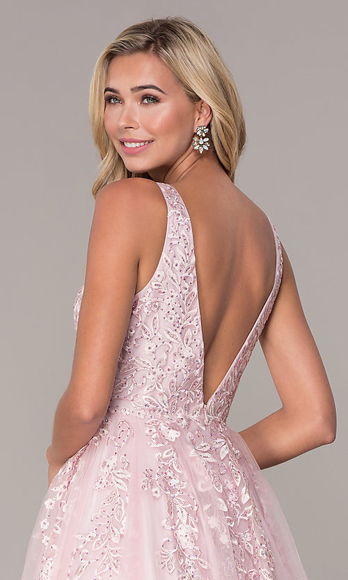 Image of ball-gown-style long mauve pink formal prom dress. Style: FB-GL2529 Detail Image 2