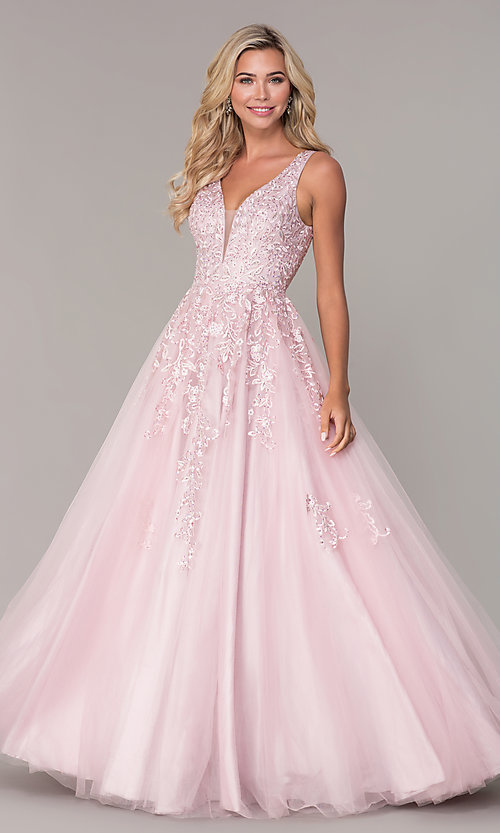 Image of ball-gown-style long mauve pink formal prom dress. Style: FB-GL2529 Detail Image 3