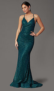 Image of long glitter corset prom dress in rose gold. Style: FB-GL2586 Detail Image 4