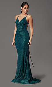 Image of long glitter corset prom dress in rose gold. Style: FB-GL2586 Detail Image 6