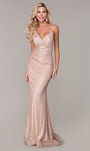 Image of long glitter corset prom dress in rose gold. Style: FB-GL2586 Front Image