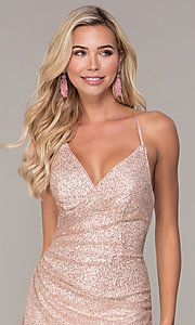 Image of long glitter corset prom dress in rose gold. Style: FB-GL2586 Detail Image 1