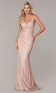 Image of long glitter corset prom dress in rose gold. Style: FB-GL2586 Detail Image 3