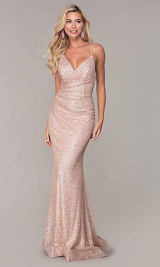 Long Glitter Corset Prom Dress in Rose Gold