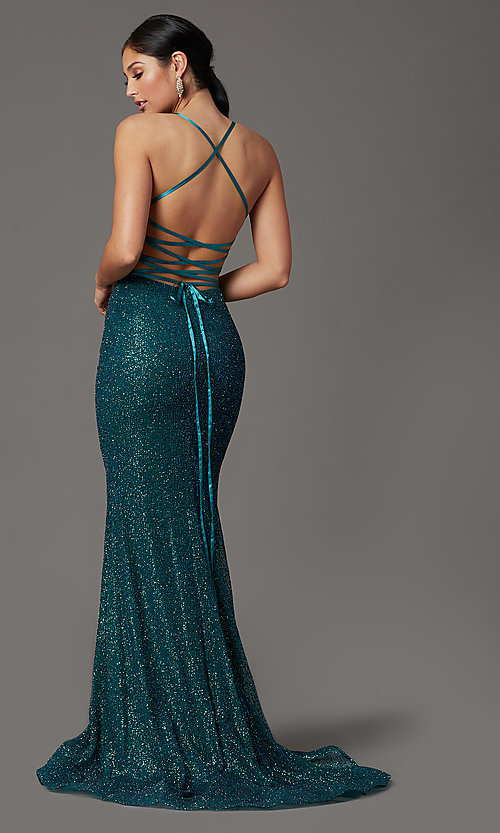 Image of long glitter corset prom dress in rose gold. Style: FB-GL2586 Detail Image 5