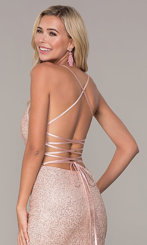 Image of long glitter corset prom dress in rose gold. Style: FB-GL2586 Detail Image 2