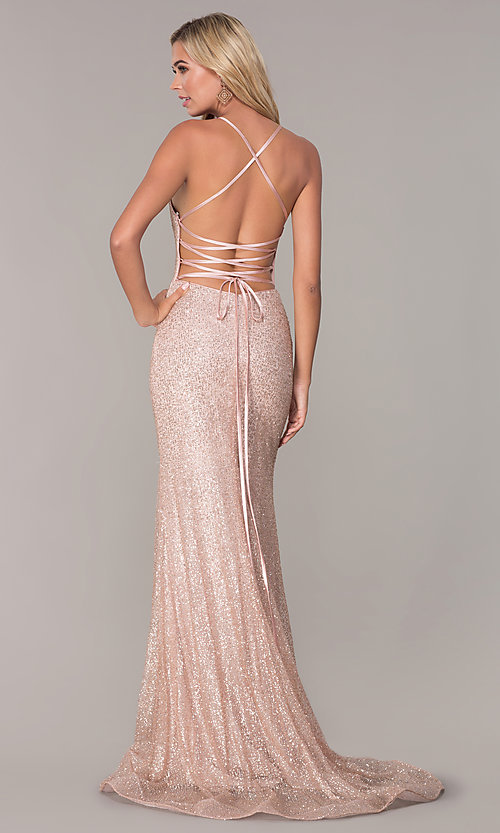 Image of long glitter corset prom dress in rose gold. Style: FB-GL2586 Back Image