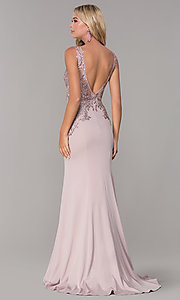 Image of Elizabeth K long prom dress with lace applique. Style: FB-GL2614 Detail Image 5