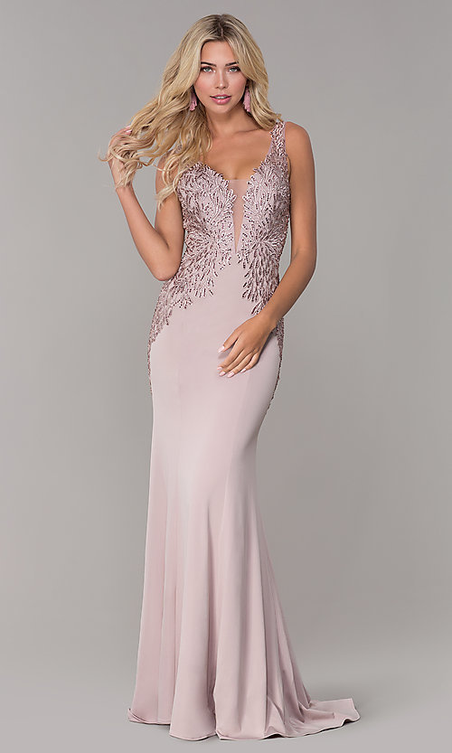 Image of Elizabeth K long prom dress with lace applique. Style: FB-GL2614 Detail Image 4