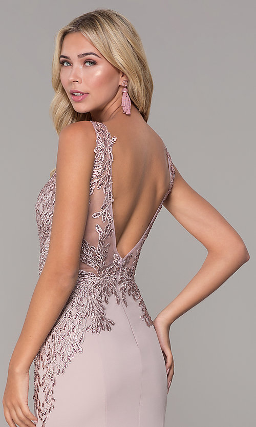 Image of Elizabeth K long prom dress with lace applique. Style: FB-GL2614 Detail Image 7