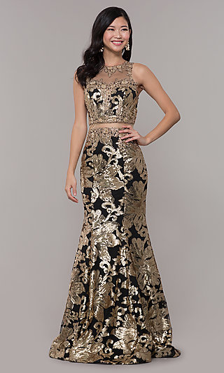 Mock Two-Piece Long Black and Gold Formal Dress