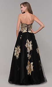 Image of sweetheart long sequin-accented black prom dress. Style: FB-GL2654 Back Image
