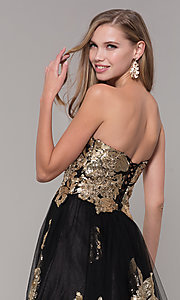 Image of sweetheart long sequin-accented black prom dress. Style: FB-GL2654 Detail Image 2
