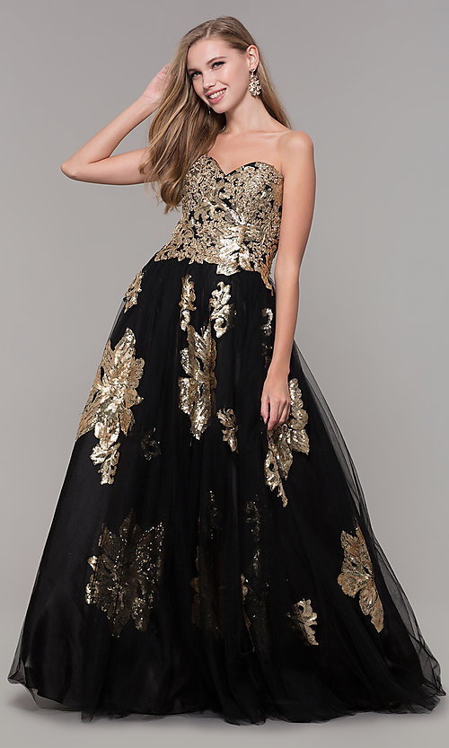 Image of sweetheart long sequin-accented black prom dress. Style: FB-GL2654 Front Image