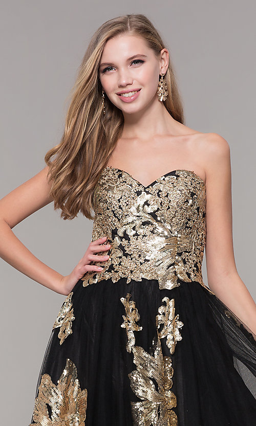 Image of sweetheart long sequin-accented black prom dress. Style: FB-GL2654 Detail Image 1