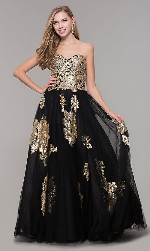 Image of sweetheart long sequin-accented black prom dress. Style: FB-GL2654 Detail Image 3