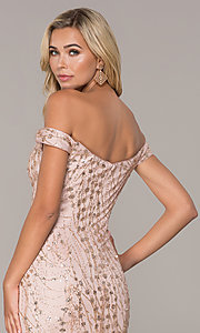Image of long off-the-shoulder sequin formal prom dress. Style: FB-GL2585 Detail Image 2