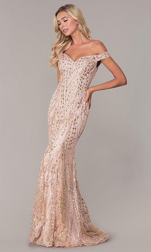 Image of long off-the-shoulder sequin formal prom dress. Style: FB-GL2585 Front Image
