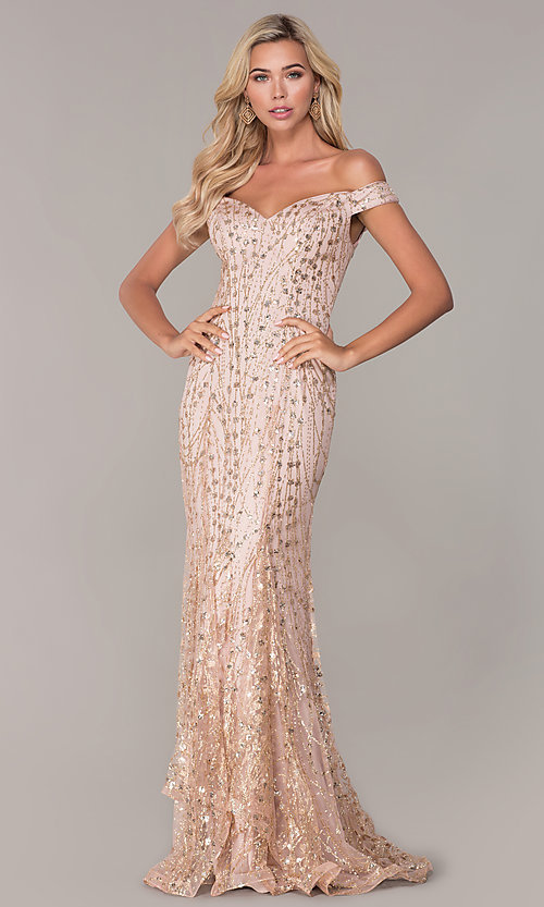 Image of long off-the-shoulder sequin formal prom dress. Style: FB-GL2585 Detail Image 3