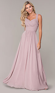 Image of long prom dress with ruched sweetheart bodice. Style: FB-GL2608 Detail Image 4
