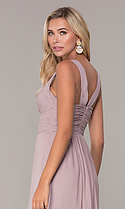 Image of long prom dress with ruched sweetheart bodice. Style: FB-GL2608 Detail Image 7