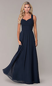 Image of long prom dress with ruched sweetheart bodice. Style: FB-GL2608 Front Image