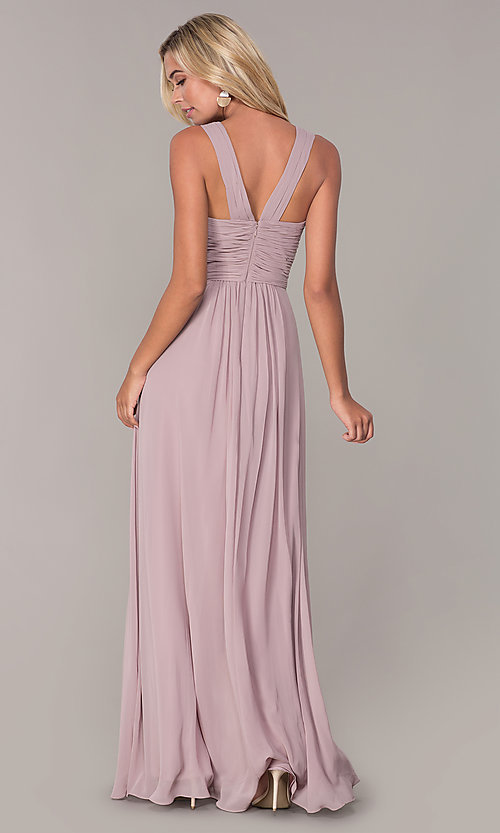 Image of long prom dress with ruched sweetheart bodice. Style: FB-GL2608 Detail Image 5