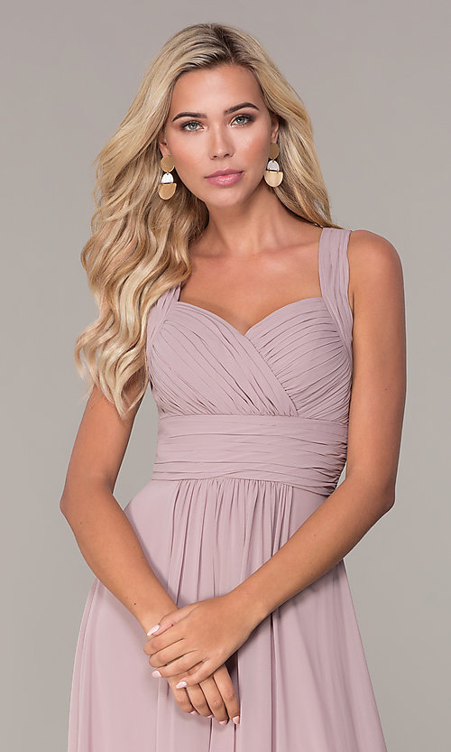 Image of long prom dress with ruched sweetheart bodice. Style: FB-GL2608 Detail Image 6